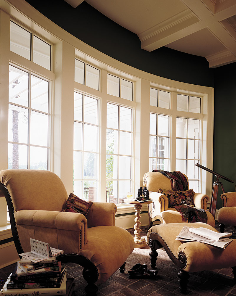 Pella Bow Windows with Architect Fixed Casements and Transoms with ILT (True Divided Lite Traditional Grilles)