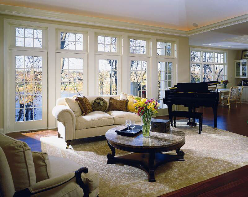 Pella Architect Series French Doors with Traditional Square Grilles.