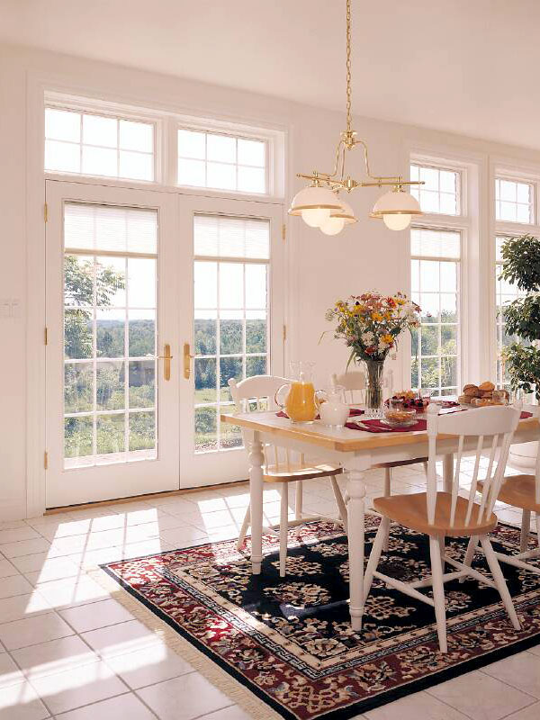 Pella Designer French Door and Transoms with Blinds Between The Glass and Traditional Square Grilles